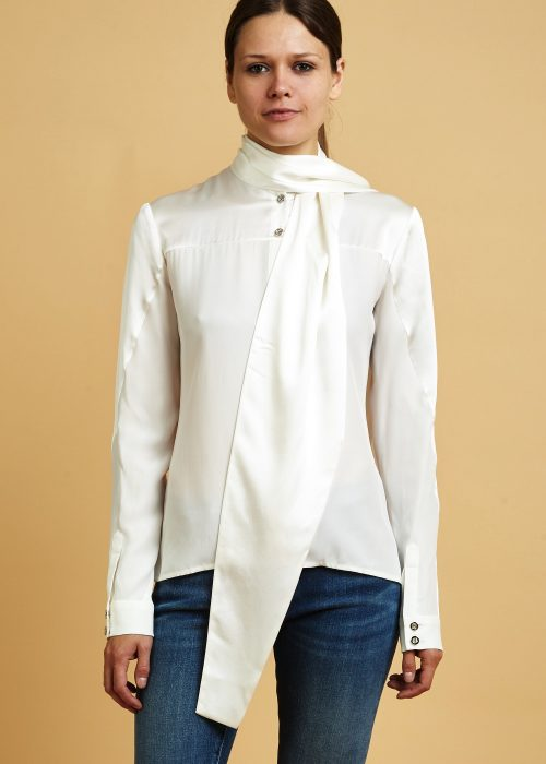 OhlinD Silk Bow Blouse Cream locally-made sustainable newyork