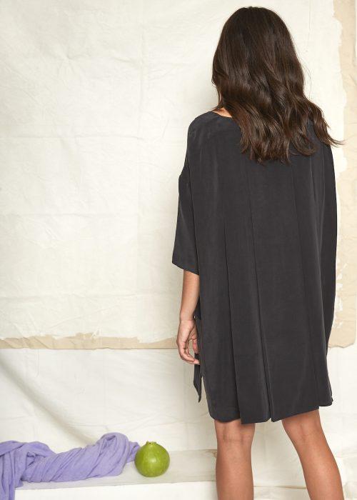 Oversize silk black dress