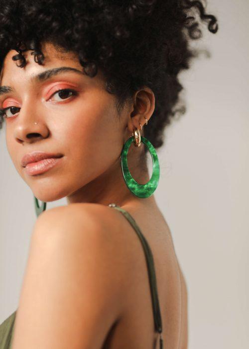 Green handmade earrings resin
