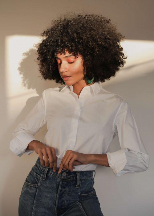 white organic cotton long sleeve shirt