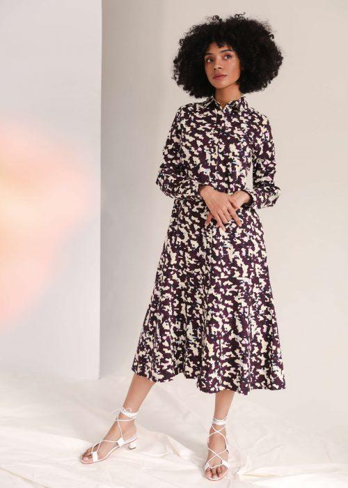 organic cotton print dress shirt