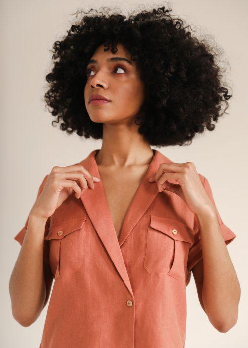 Linen shirt short sleeve Sunad Sahara