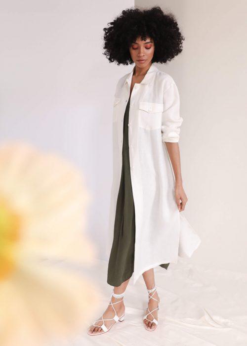 Green summer dress textured cupro
