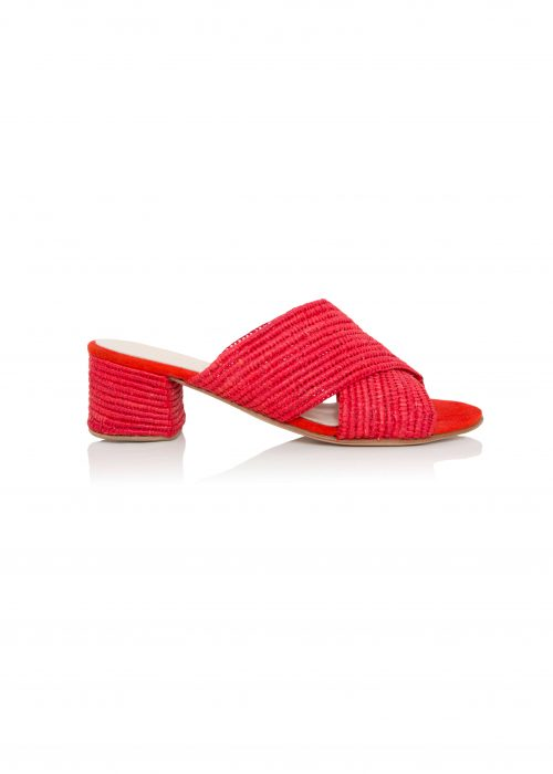 Raffia sandals red shoes open toe