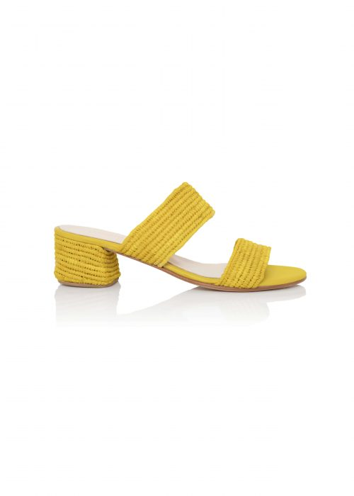 yellow raffia open toe handmade