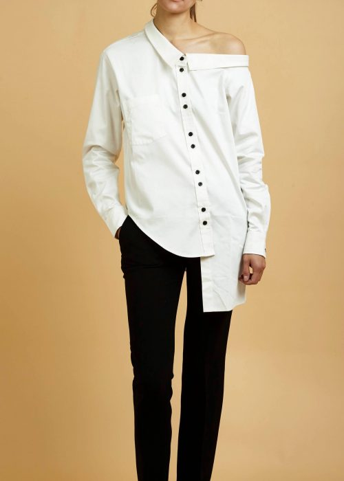asymmetrical white shirt