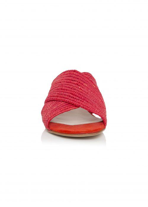 Raffia red open toe shoes