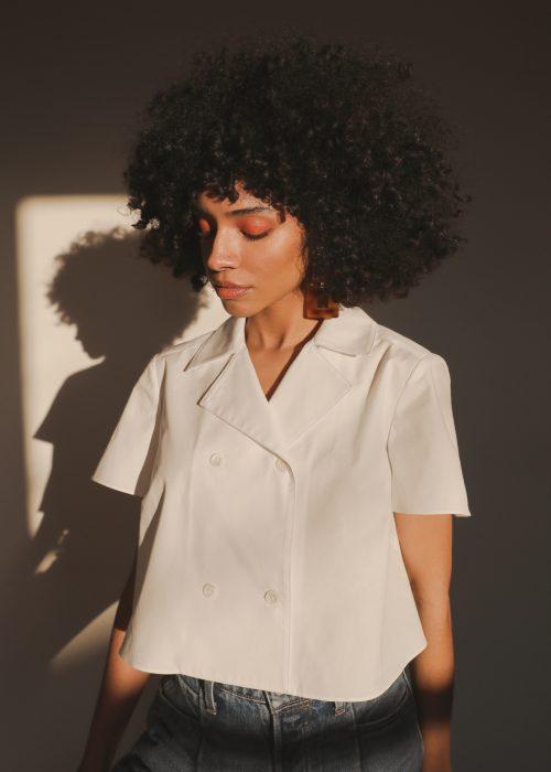 grammar white organic cotton blouse