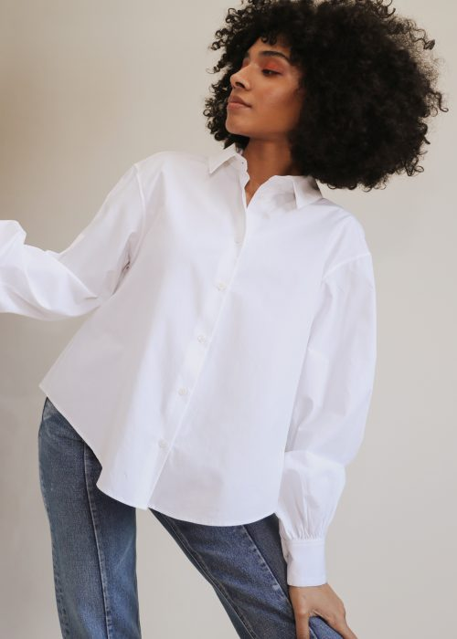 Organic cotton white shirt puff sleeves