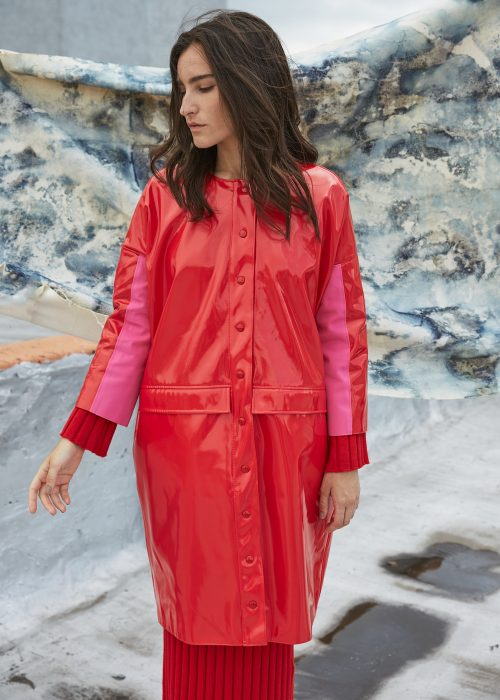 red vinyl raincoat