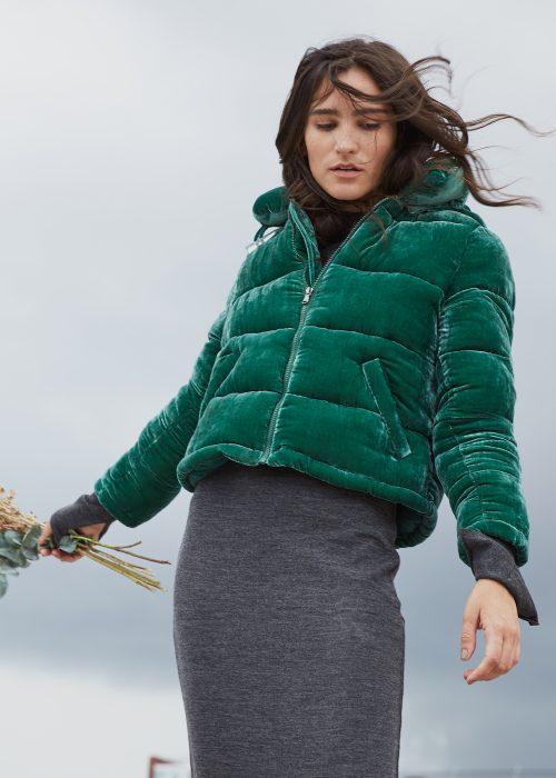puffer velvet jacket green